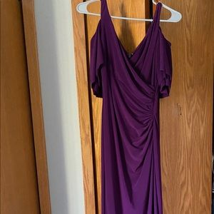 Lauren-Ralph Lauren Purple Cold Shoulder Dress